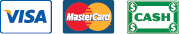 We Accept Visa, Mastercard, and Cash
